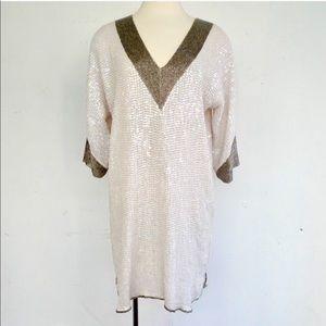 Foley + Corinna White Sequin Shift Dress